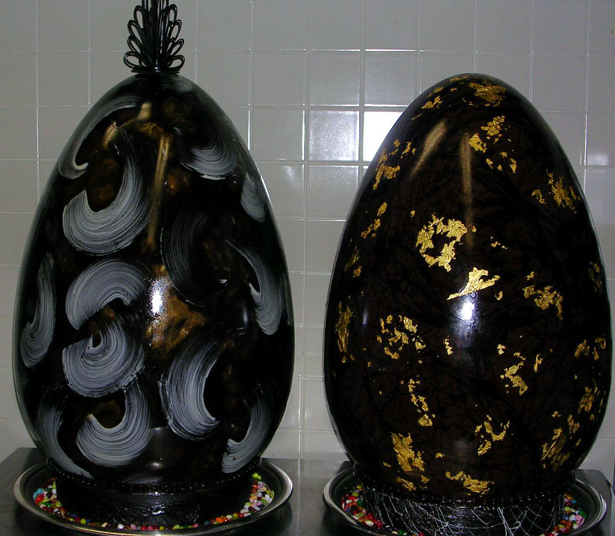 Giant Chocolate Eggs leaving the pastry shop